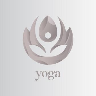 ヨガのロゴ、健康的なビジネスのためにヨガのロゴをやっている人々とロータス