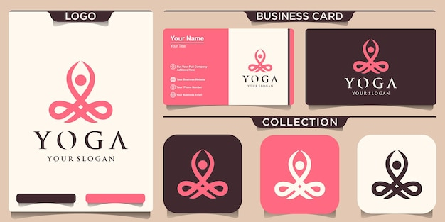Шаблон логотипа йоги и дизайн визитной карточки