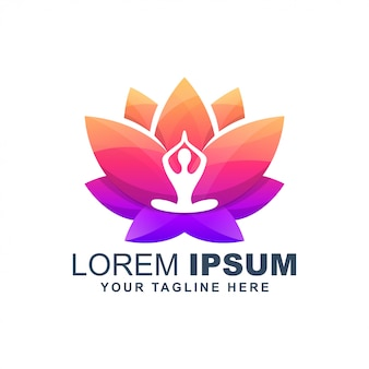 Yoga lotus flower colorful logo