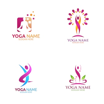 Yoga and lotus flower logo with health spa