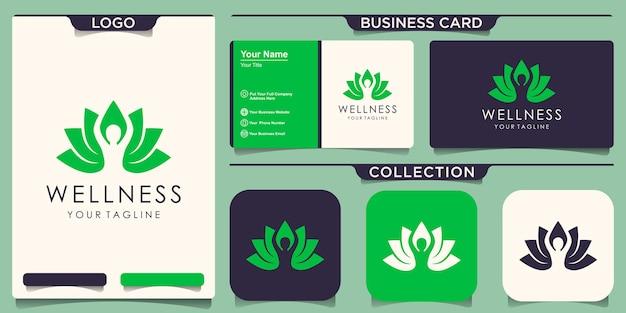 Йога поза лотоса цветок логотип с дизайном визитной карточки