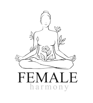 Yoga. lotus position woman with flower.