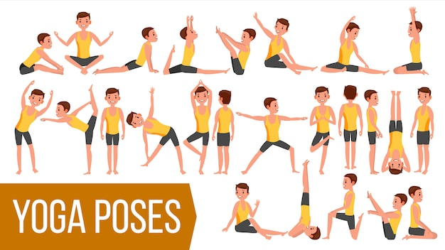 Yoga man poses character.