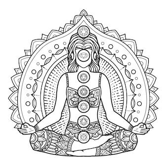 Дизайн мандалы йоги, раскраска для взрослых или дизайн футболки