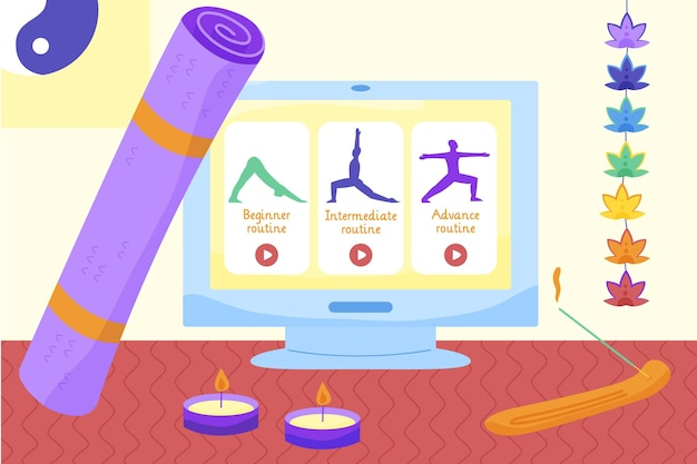 Yoga mat and online classes concept