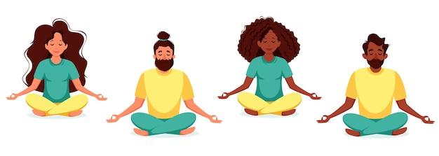 ヨガ、瞑想センター。健康的なライフスタイル、ヨガ、瞑想の概念図は、リラックス、レクリエーション。フラットスタイルのイラスト。