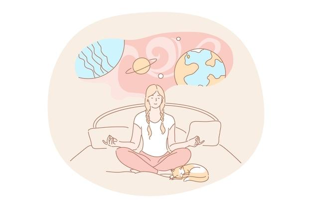 ヨガ、瞑想、想像力の概念。