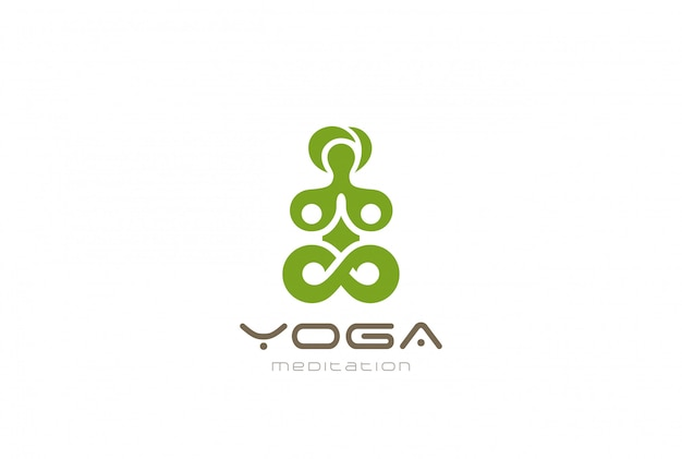 Yoga meditation logo vector vintage icon.