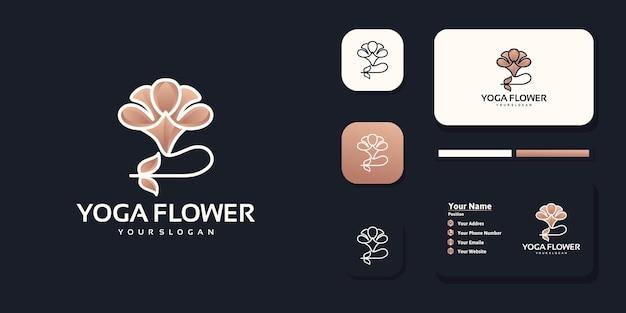 Логотип медитации йоги с цветочной концепцией
