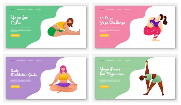 Yoga and meditation poses landing page  template set. stretch exercises. bodypositive website interface idea with flat illustrations. homepage layout, web banner, webpage cartoon concept