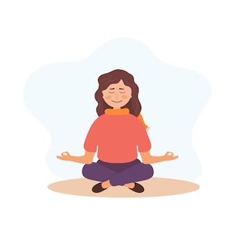 ヨガ、瞑想、女の子をリラックスさせます。ポジティブマインド。メンタルヘルスの概念。瞑想する女性