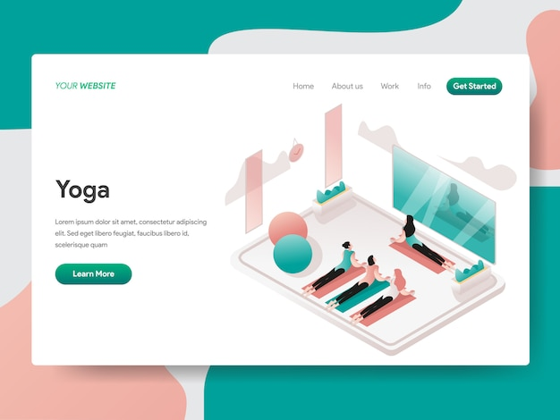 Yoga and meditation room isometric illustration. landing page