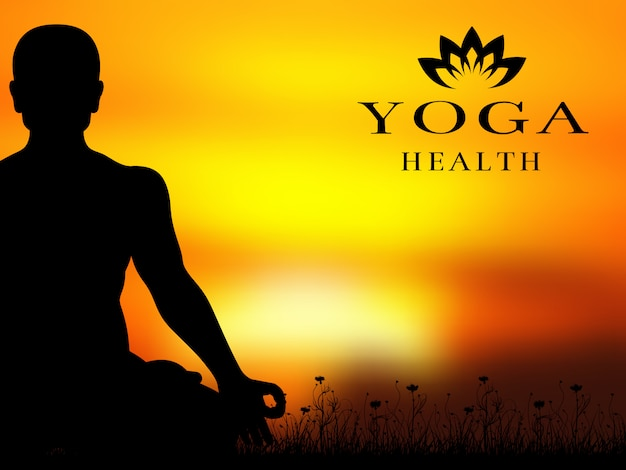 Yoga meditation silhouette vector background