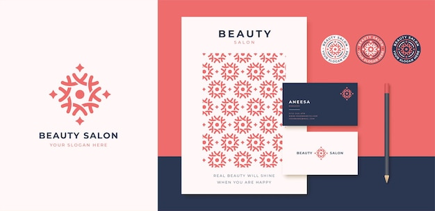 Yoga meditation with abstract tree logo and business card design