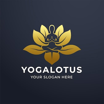 Yoga meditation with lotus flower logo design