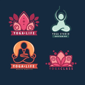 Yoga monograms and logos set.