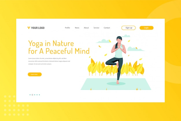 Yoga in nature for a peaceful mind illustration on landing page