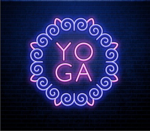 Yoga neon sign isolated on brick wall