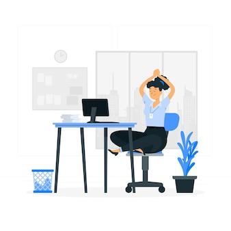Illustrazione del concetto di yoga in ufficio