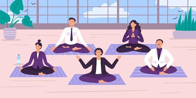Офисные работники йоги.