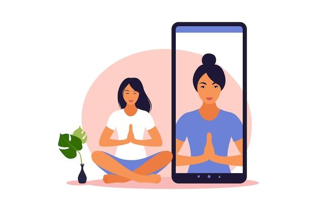 온라인 강사와 함께 집에서 요가 운동을 하는 건강한 여성과 함께하는 요가 온라인 개념. 집에서 웰빙과 건강한 생활 방식. 요가 운동을 하는 여자. 벡터 일러스트 레이 션.