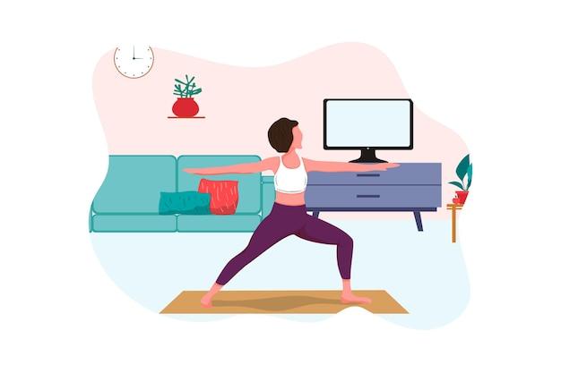 요가 온라인 개념 요가 포즈 소녀는 가정 웹 배너 상륙 평면 그림에서 강사와 함께 신체 운동을 하고 노트북 온라인 요가에서 온라인 수업을 보고 있습니다