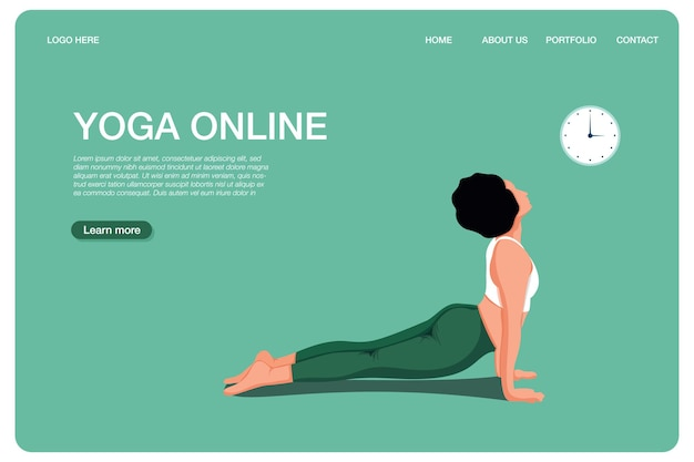 요가 온라인 개념 요가 포즈 소녀는 신체 운동을 하고 온라인 수업을 보고 있습니다