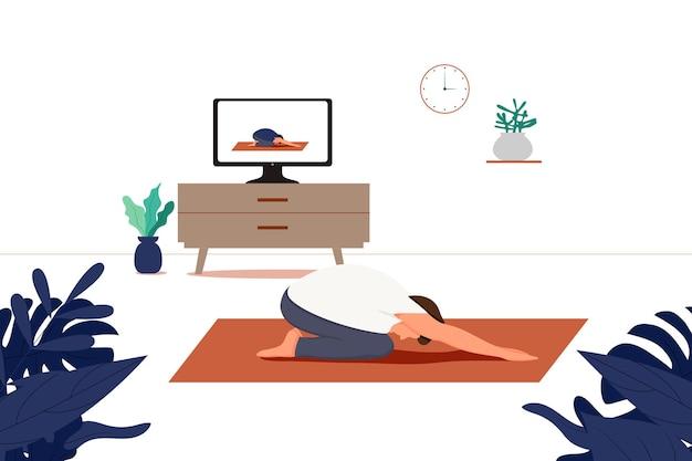 요가 온라인 개념 요가 포즈 남자는 집에서 강사와 함께 랩톱 온라인 요가에서 신체 운동을 하고 온라인 수업을 보고 있습니다.