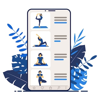 스마트폰 화면의 요가 온라인 소녀 코치는 요가 코스 또는 웹사이트 디자인 수업을 진행합니다
