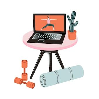 강사와 함께하는 온라인 요가. 노트북에서 온라인 수업을 보고 있는 소녀. 집에서 요가 운동을 하는 여자.
