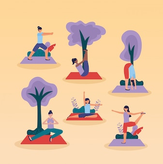 Yoga outdoor in flat style