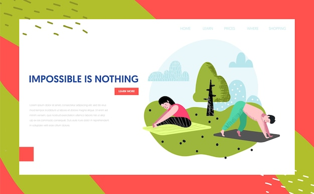Yoga in park landing page template. outdoor workout active people characters meditating, doing yoga for website or web page. easy edit. vector illustration