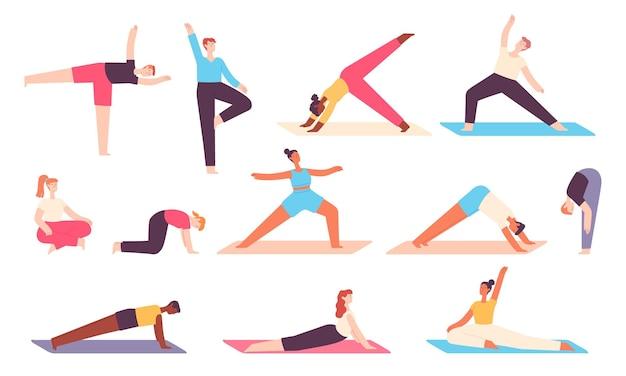 ヨガの人々。男性と女性は体と心をリラックスさせるためにストレッチ運動をします。バランスの取れたアーサナポーズでの禅瞑想。健康的な幸福ベクトルセット。イラストヨガエクササイズフィットネス、男はスポーツをする