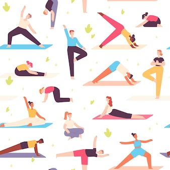 Yoga people seamless pattern. men and women do mental health and physical exercise. meditation, relaxation in nature, wellbeing vector print. illustration pattern mental yoga in park outdoor