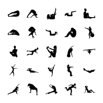yoga poses icons  free vector