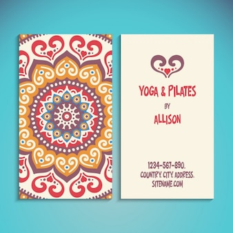 Yoga and pilates card in ethnic style