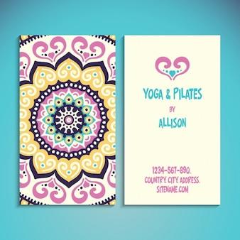 Yoga and pilates card with mandala