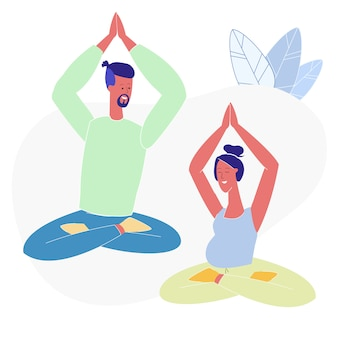 Yoga, pilates for couples flat vector illustration