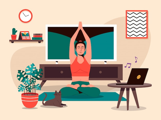 Yoga pose at home  illustration