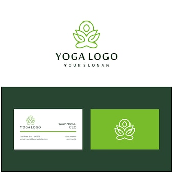 Yoga pose lotus flower logo and business card