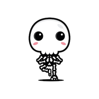 Yoga pose skeleton with big skull design