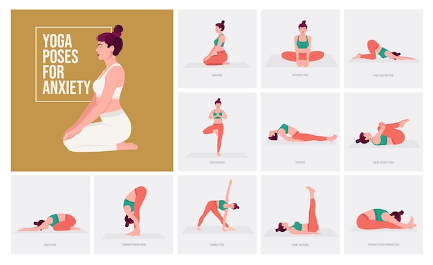 Yoga poses for anxiety young woman practicing yoga pose woman workout fitness