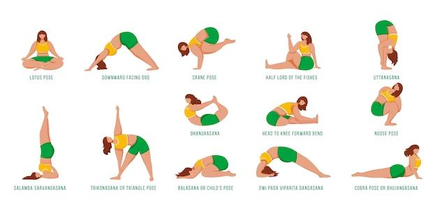 Йога создает плоские иллюстрации набор
