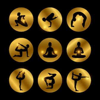 Yoga poses icons set with female silhouette