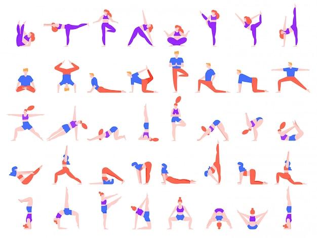 Йога ставит людей. люди делают упражнения йоги, молодой человек и женщина йога сообщества иллюстрации набор. медитация, тренировка баланса и релаксация асаны. практиковать пилатес