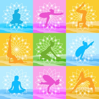 Yoga poses set woman silhouette over beautiful lotus icon colorful ornament