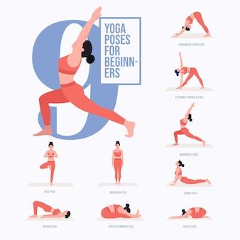 Yoga poses set young woman practicing yoga poses