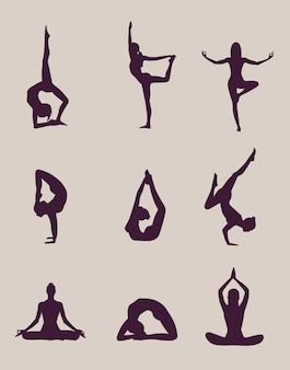 Yoga poses silhouettes on light background