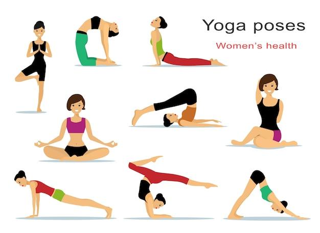 Yoga poses for women. beautiful sport girls doing exercises.