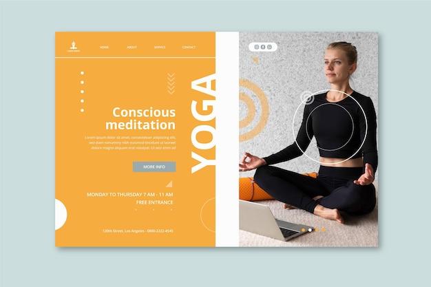 Modello di pagina di destinazione per la pratica dello yoga Vettore gratuito